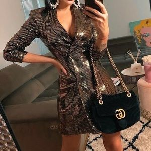 NEW Zara Gold Sequined Blazer Dress with Tags